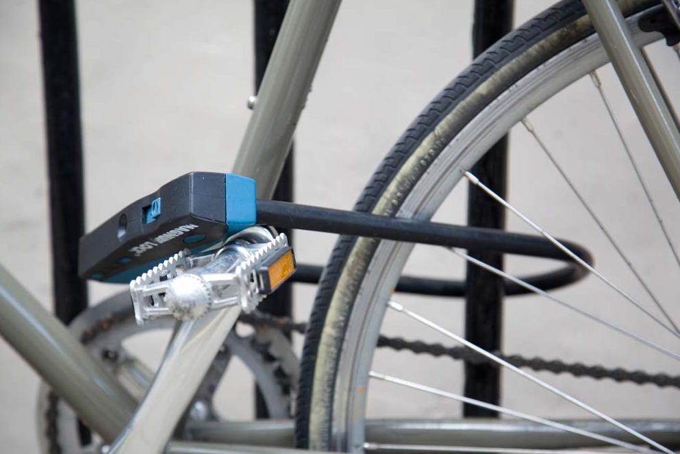 Bild på en cykel med cykellås.